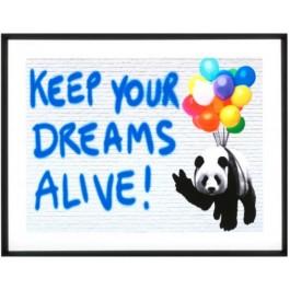"""ΓΚΡΑΒΟΥΡΑ ΜΕ ΜΑΥΡΟ ΞΥΛΙΝΟ ΠΛΑΙΣΙΟ """" KEEP YOUR DREAMS ALIVE"""""""