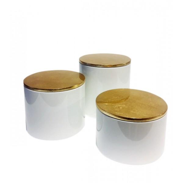 Σετ3 στρογγυλά κουτιά λευκή λάκα με καπακιά χρυσά