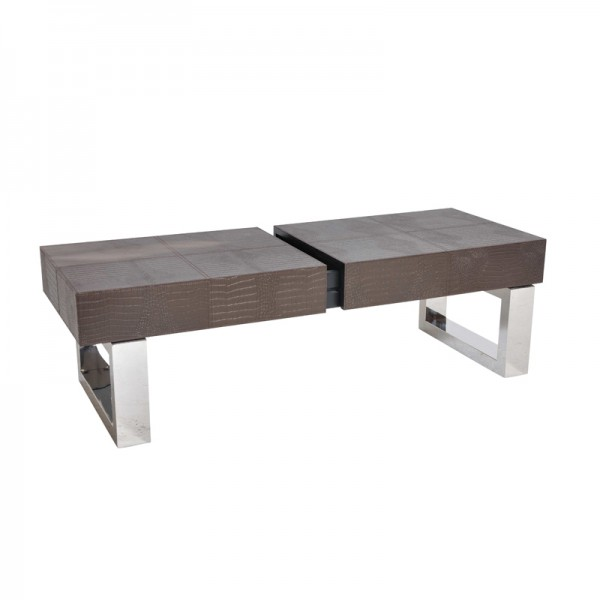 Leather and stainless steel coffee table
